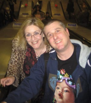 Bruce and Julie going up escalators in Brixton tube station
