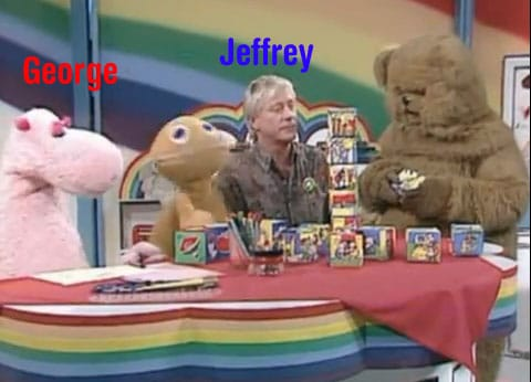 cast of kids' TV show 'Rainbow', with jeffrey and george identified in superimposed text