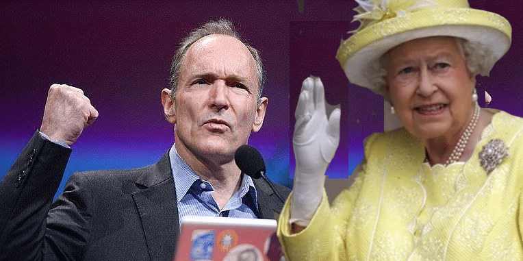 Tim Berners Lee with fist raised, and the Queen making a karate chop gesture