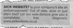 newspaper ad offering free diagnosis of 'sick' websites
