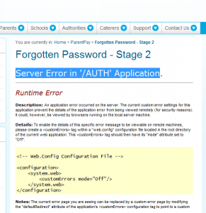 Server-specific error message in web page