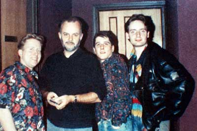 3 young men in horrible shirts with John Peel