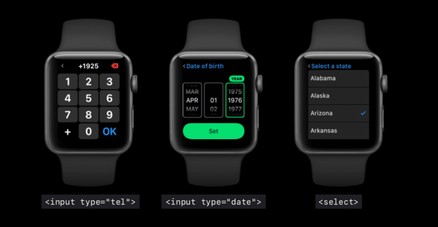 Apple Watch showing different full-screen keyboards for different email types
